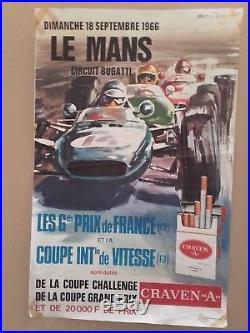 Affiche le mans 1966 grands prix de france par béligond