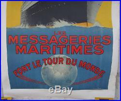 Affiche les messageries maritimes font le tour du monde signé SANDY HOOK