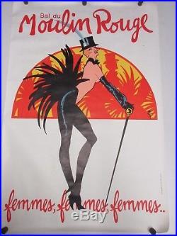 Affiche lithographiée LE MOULIN ROUGE par GRUAU 119 X 80 cm