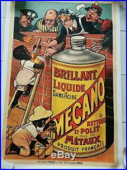 Affiche mécano huile garage entoilee originale ca 1900