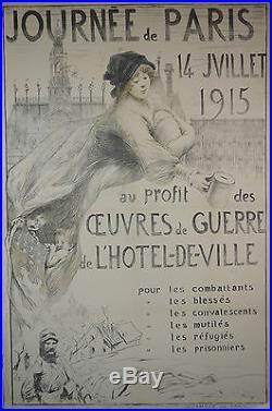 Affiche origi. Journée de PARIS 14 juillet 1915 au profit des oeuvres de guerre