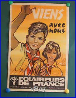 Affiche original PIERRE JOUBERT eclaireurs de france scout scoutisme année 70