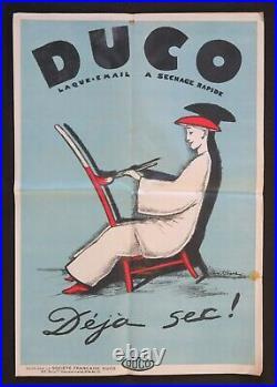 Affiche originale 1920 DUCO DEJA SEC André Girard Laque émail Japon Japan poster