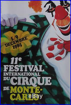 Affiche originale 1985, 11e Festival International du cirque de Monte Carlo
