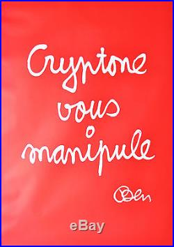 Affiche originale 1996 Cryptone vous manipule Ben Vautier 165x 116 cm