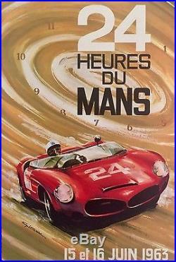 Affiche originale 24 heures du Mans 1963 par Leygnac entoilée Etat A+