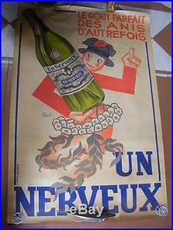 Affiche originale ANIS UN NERVEUX 120 x 80 Lucien CAYOL
