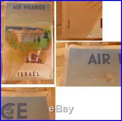 Affiche originale Air France Proche Orient 1949 Israel