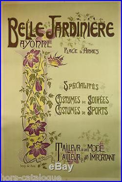 Affiche originale Belle jardinière, Bayonne, Tailleur à la mode, art nouveau