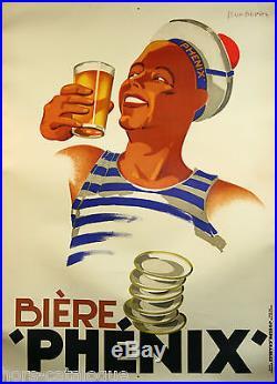 Affiche originale Bière Phénix, bière, marin, matelot, par Léon Dupin 1930