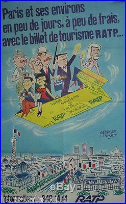 Affiche originale, Billet de tourisme RATP, par Georges Libault. Ed. GDP Paris