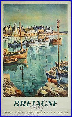 Affiche originale, Bretagne, par Ceria, 1970. SNCF. Imp. Draeger. Port, barques
