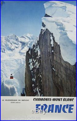 Affiche originale, Chamonix, Telepherique du Brevent. Par Tairraz/ France 1959