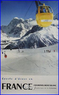 Affiche originale, Chamonix, téléphérique de la Flegere. Sport hiver france 1959