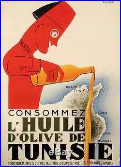 Affiche originale Consommez l'huile d'olive de Tunisie Tunis 1925