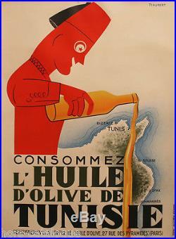 Affiche originale Consommez l'huile d'olive de Tunisie, par Piaubert imp. Damour