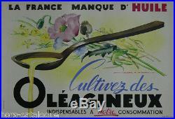 Affiche originale Cultivez des Oléagineux, Par Jean A. Mercier. 1943 France huile