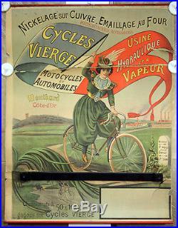 Affiche originale Cycles Vierge par Daloz, Montbard, Côte d'or, circa 1900