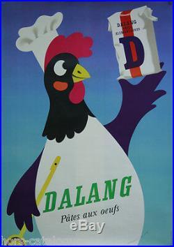 Affiche originale, Dalang pâtes aux oeufs, par Herbert Leupin, 1960' poule