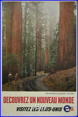 Affiche originale, Decouvrez un nouveau monde Parc Sequoias Californie 1963