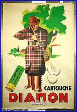 Affiche originale Diamon cartouche à longue portée. Chasse, fusil