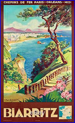 Affiche originale E. Paul Champseix Biarritz Pays Basque Casino 1935