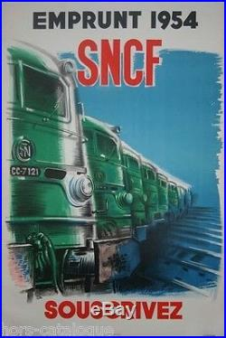 Affiche originale, Emprunt SNCF 1954, souscrivez. Train, locomotive. Par Vecou