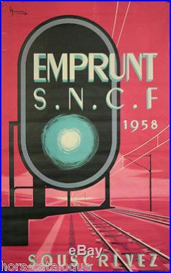 Affiche originale, Emprunt SNCF 1958, Souscrivez. Par Marcour 1958. Imp Vox Pub