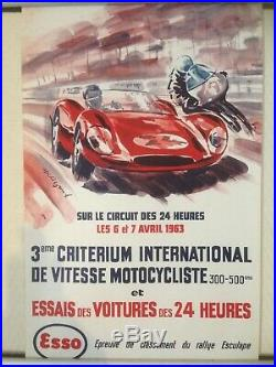 Affiche originale Essais 24 heures du Mans 1963 moto rallye Esculape Béligond