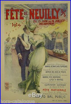 Affiche originale, Fête de Neuilly sur Seine 1914. Par Ch. Gouin. Grand Bal
