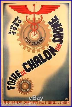 Affiche originale, Foire de Chalon sur Saone. 1934. Art Déco