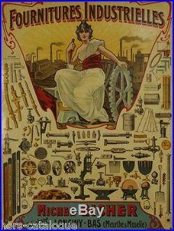 Affiche originale, Fournitures industrielles, Michel Eicher, Longwy-Bas. Outils