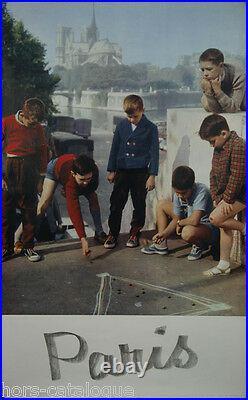 Affiche originale, France, Paris 1960. La partie de billes. Par Bandy photo
