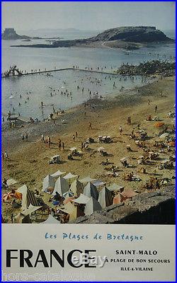 Affiche originale, France, Plages de Bretagne-Saint Malo, Bon Secours. 1959