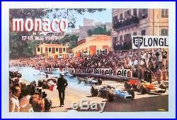 Affiche originale Grand Prix de Monaco 1969 Entoilée Superbe état
