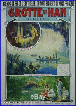 Affiche originale, Grotte de Han, Belgique. Chemin de fer de l'état