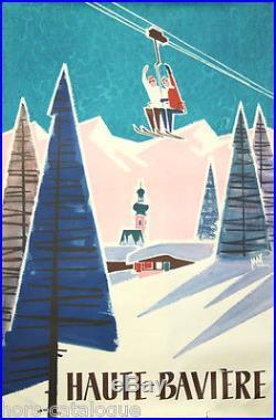 Affiche originale, Haute Bavière, par Max Härtl. Imp Obpacher, München. Ski