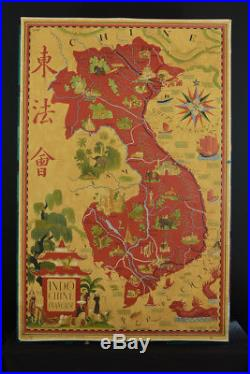 Affiche originale Indochine Siam Tonkin China 1949 Lucien BOUCHER Perceval rare