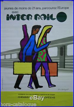 Affiche originale, Inter Rail, train, parcourez l'europe. Par Guy Georget 1975