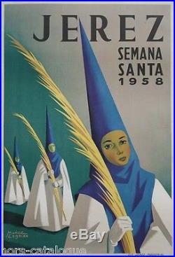 Affiche originale, Jerez, Semana santa 1958. Par Munoz Cerbian. Espagne