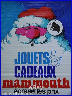 Affiche originale, Jouets cadeaux Mammouth écrase les prix, père noël. 1975