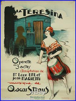 Affiche originale, La Térésina, Opérette. Par Dola, 1929. Roulotte, gitane