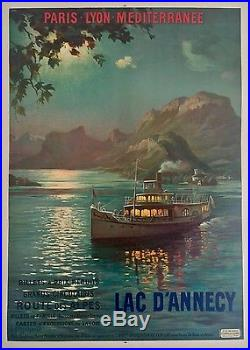 Affiche originale Lad d'Annecy par François Cachoud entoilée etat A