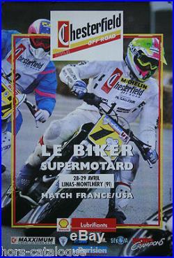 Affiche originale, Le Biker supermotard, Chesterfield. Circuit moto. Ca 1975