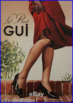 Affiche originale, Les bas Gui. Ed. Opta, Paris. Collants jambes femme nylon soie