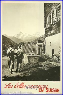 Affiche originale, Les belles vacances en Suisse. Par E. Meerkamper. Montagne