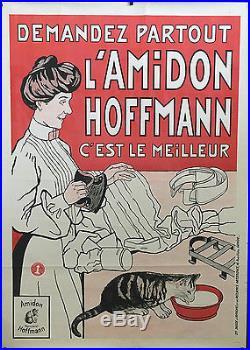 Affiche originale Lessive Fer à Repasser Ménage Amidon Hoffmann vers 1900