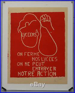 Affiche originale MAI 68 Entoilée LYCÉENS, ON FERME NOS LYCÉES
