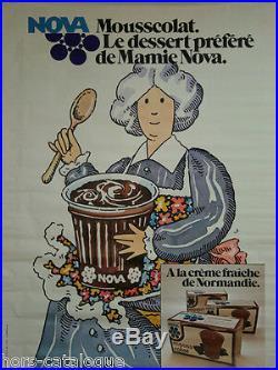 Affiche originale Mamie Nova Mousscolat Dessert mousse au chocolat creme fraiche