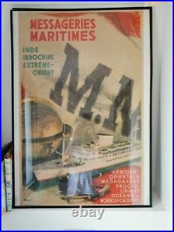 Affiche originale Messageries Maritimes Indochine Extrême Orient